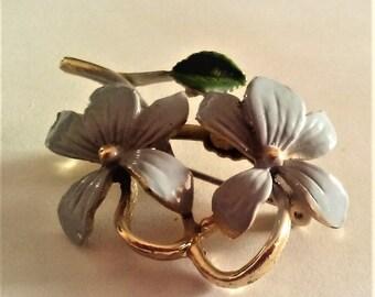 Enamel  Brooch Vintage  Flower Blue Petals Green Leaf Old Estate Jewelry Pin Gold Pinback