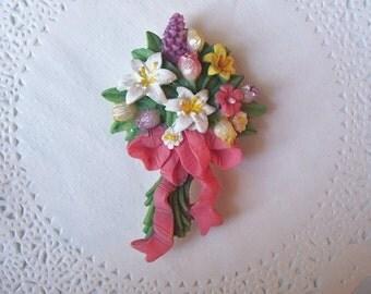 Flower Magnet (716) - Bouquet of Flowers Refrigerator Magnet - repurposed jewelry - flower brooch - flower bouquet jewelry