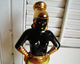 Vintage Mid Century Female Blackamoor Figurine Nubian in Chartreuse and Gold African Figurine Hollywood Regency