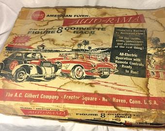 Vintage American Flyer Auto-Rama Over & Under Corvette Race, Gilbert Slot Car Race Set