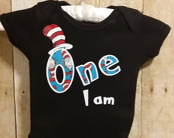 One I am, first Birthday T-shirt, smash cake, Personalized, Birthday, photo prop, Cat in the hat, t-shirt Dr. Seuss Licensed fabric Applique