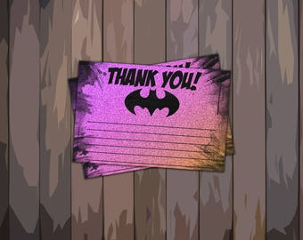 Bat Girl-Thank You Cards-cards- Batman Printables-pink-purple-Batgirl-watercolor-Birthday Party-baby shower-wedding-Party-Thank yous-Glitter
