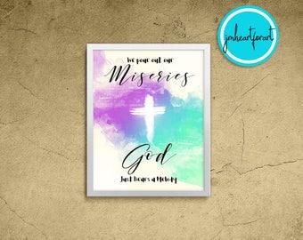 Christian Art-Printable Art-Inspirational Print-Song Quote-Christian Quote-Christian Decor-Cross Print-Godly-Watercolor Print- Jesus