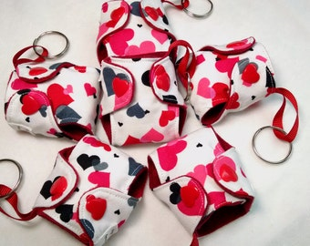"Basic Cloth Diaper Keychain 2"" Valentine heart diaper key chain, key chain diaper key fob"