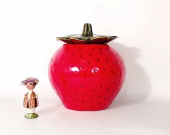 Bright Red Ceramic Strawberry Cookie Jar