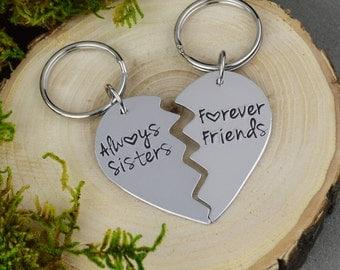 Always Sisters Forever Friends Broken Heart Keychain Set