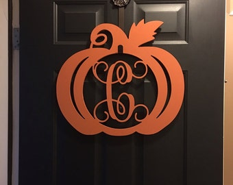 Wooden Pumpkin Monogram, Door Hanger, Monogram Door Wreath, Fall Decor, Happy Y'all, Thanksgiving Decor, Wooden Initials, Wooden Letters