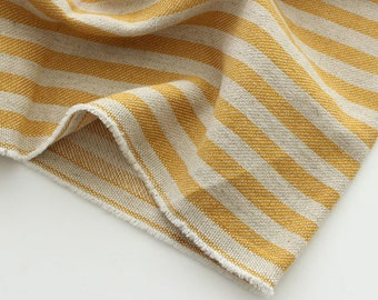 "Cotton Linen Fabric mustard yellow stripe by the Yard 44"" cozy yellow stripe laceking 2013"