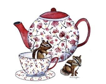 Chipmunks and Tea winter Print 8x10