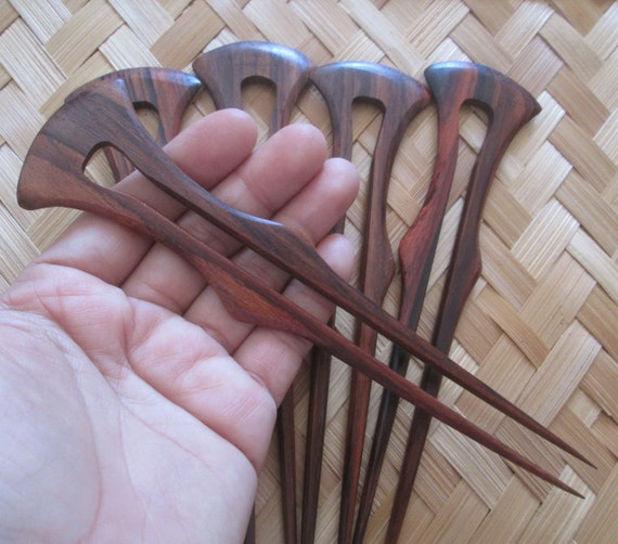 Wood hair stick celtic carving pin wooden by balibone