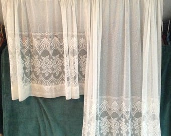 Off White Curtain Panels, Sheer Lace, 2 Lengths 4 Pieces; 31 U0026 52