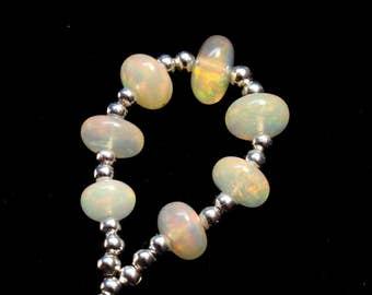 7 Pieces Rainbow Fire Opal Beads - Loose Ethiopian Opal Beads 5 To 7 mm Cabochon Roundel beads / Ethiopian Opal Beads