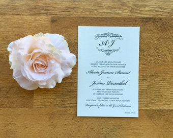 Letterpress Wedding invitation, black ink, DLP01-AS0620