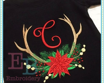 Poinsettia Antlers Embroidery Design - This design is to be used on an embroidery machine. Instant Download