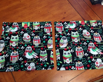Owl Christmas Pillow Covers 14 x 14 inch