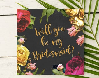 Vintage inspired Will you be my Bridesmaid invitation card