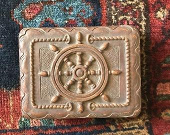 Small brown nautical ship wheel box