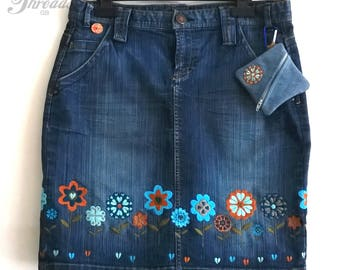 Blue jean skirt, denim skirt, upcycled clothing, embroidered skirt UK size 12, festival clothing + purse FREE GIFT