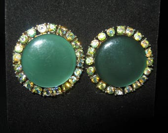 Coro Green Earrings, Circle Of Faux Crystals, Two Missing Stones, Clip Earrings, Gold Tone Metal Setting, 1 1/8 Inch Diameter