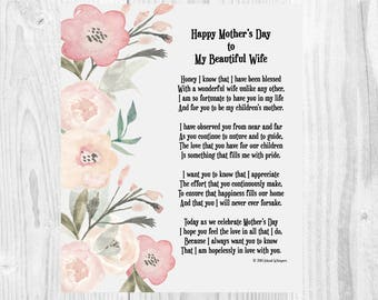 Mothers Day Poem, Mother's Day Print, Gift from Husband, Wife Mothers Day Card, Instant Download