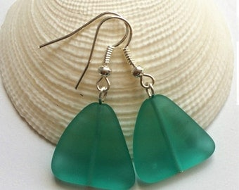Large Turquoise Green Sea Glass Earrings, Beach Jewelry,Beach Glass Earrings, Seaglass Jewelry, Beach Wedding.Free US Ship
