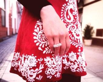 Short red linen dress