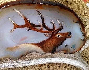 "Elk Painting Agate,  extra large size 9"" wide brown agate, original artwork,  with custom 12-1/2"" elk antler stand"