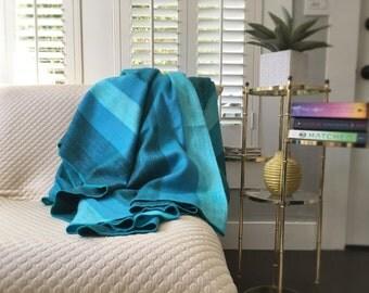Teal Alpaca Throw Blanket