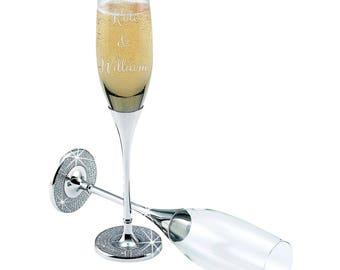 Personalized Wedding Flute Set, Custom Glitter Galore Flutes Couples Set, Wedding Gift, Wedding Favor, Wedding Toasting Flutes