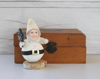 Vintage White Christmas Dwarf Santa - Japan, Vintage Christmas Elf, Vintage Pixie, Vintage Gnome, Vintage Holiday Decoration