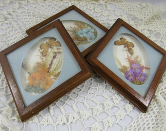 Vintage Boho Shadowbox Flowers and Butterflies Set of 3