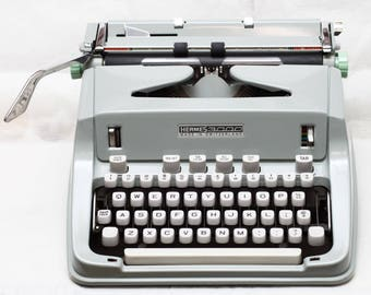 Vintage Hermes 3000 Manual Portable Typewriter With Hard Top Shell & Fresh New Ribbon Made in Switzerland 1960s