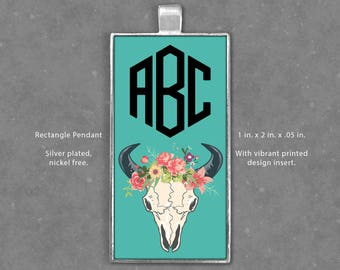 Rectangle Pendant, Personalized 3 Initial Monogram With Trendy Floral Skull Art, Custom, Pink, Teal, Necklace, Jewelry, Charm - Gift Idea