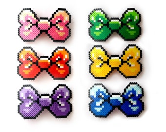 8-bit Perler Hair Bow, Pixel Barrette