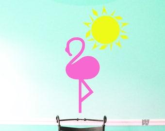 Beach Decals. Flamingo Wall Decor. Sun Decal. Beach Pink Decor. Girls Room Decor. Wall Decal. Office Decor. Wall sticker. Home decor decals.