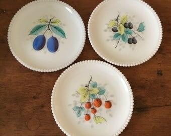 Three Pretty Westmoreland Milk Glass Fruit Plates