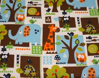 Baby & Toddler Cotton and Minky Blanket * Animal Friends
