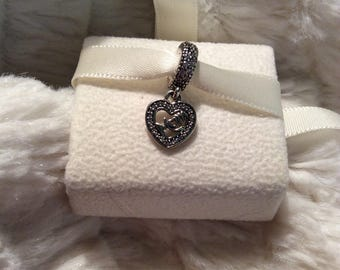 Authentic PANDORA Mom Center of My Heart CZ Sterling Silver Dangle Charm