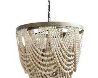 Wood Bead Chandelier with metal and 3 Lights