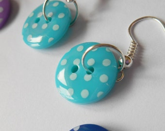 Bright Polka Dot Earrings, Button Dangle Jewellery, Gifts for Her, Retro Style Ear Wires, Female Friend Token, Dotty Lover, Fun Accessory