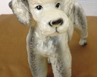 Porcelain White-Grey Standard Poodle Dog Figurine