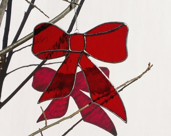Red Christmas Bow Stained Glass Christmas Ornament 7 inch Red Bow Window Decoration Holiday Decor Red Stained Glass Bow Christmas Decoration