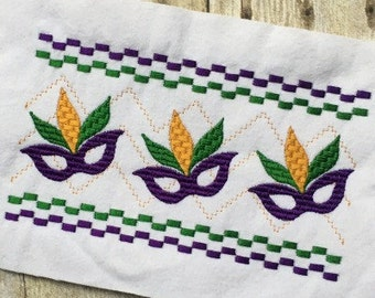 Mask Embroidery - Mardi Gras Embroidery - Mask Smock Embroidery - Mardi Gras  Smock Embroidery - Embroidery Design - Faux Smock