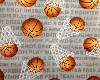 One Half Yard of Fabric Material - Basketball
