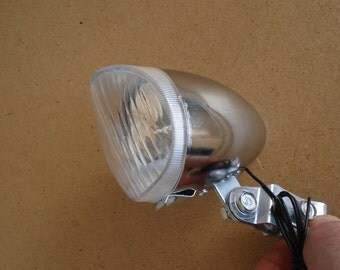 Vintage Polished Chrome Front Dynamo Lamp/Front Dynamo Light / Vintage Bicycle Steel Chrome Lamp/1990s
