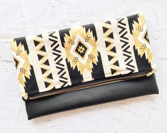 Metallic Gold Aztec Print & Black Faux Leather Foldover Clutch - Gift for her, Birthday, Anniversary, Bridesmaid
