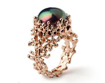 CORAL Black Pearl Ring, Unique Rose Gold Engagement Ring, Black Pearl Engagement Ring, Rose Gold Pearl Ring, Rose Gold Ring