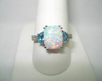 14 Kt White Gold 10mm x 8mm Opal 7mm x 5mm  Half Moon Blue Topaz Diamond Ring Size 9