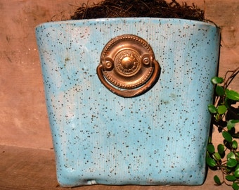 Handmade ceramic wall pail, patio wall pot, garden pot
