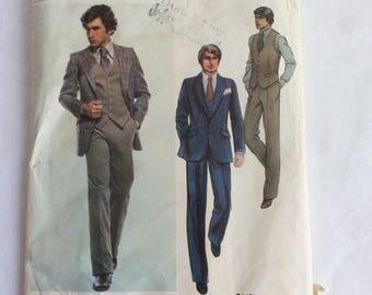 Vintage VOGUE Paris Original GIVENCHY Men's 3-Piece Suit Pattern UNCUT Sz 40